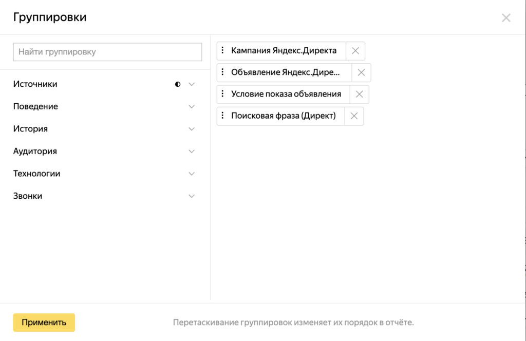 Группировки отчета в Яндекс.Директ